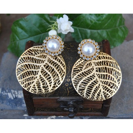 Pearl Stud Gold Leafed Dangler Earrings